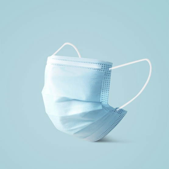 Example of a blue surgical mask